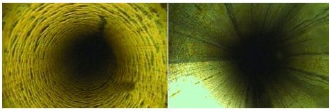 3.Before and after. At left is a close-up of calcium carbonate scale. At right is the same surface after the scale was removed. Courtesy: Conco Systems Inc.