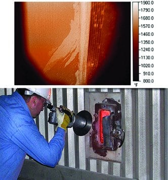 7.It's all about working distance. Perfected proprietary technology allows a low-cost, uncooled microbolometer infrared detector to image in very narrow spectral bands at high temperatures. Shown on top is a typical image viewed by the operator. Courtesy: Mikron Infrared Inc.