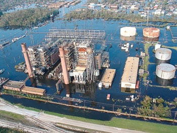 3.	Six feet under. The A.B. Paterson plant a few days after Katrina hit. Courtesy: Entergy