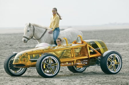 3. Horse and biobuggy. Weighing in at 1,650 pounds, this roadster can accelerate from 0 to 60 mph in less than 5 seconds and hit a top speed of 131 mph, all while burning E85 and producing minimal CO2 emissions. Can going green be fun? You bet. Courtesy: Rinspeed