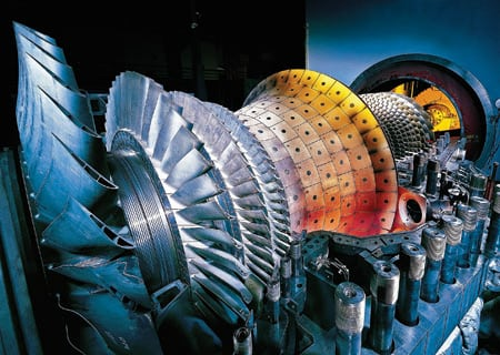 5. Start of the cycle. A Siemens gas turbine like this one will be the primary energy converter of the Caithness Long Island Energy Center, a 350-MW gas-fired combined-cycle project. Courtesy: Siemens Power Generation