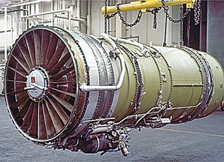 7. Like father, like son. This Pratt & Whitney JT8D aircraft engine, popular with airlines, is the forerunner of the FT8 Swiftpac for stationary power generation. Courtesy: Pratt & Whitney