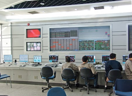 9. Megawatt maven. An Ovation expert system like this one is now controlling two of the four 1,000-MW units of a new, ultrasupercritical temperature and pressure coal-fired plant in Yuhan, China. Courtesy: Emerson Process Management