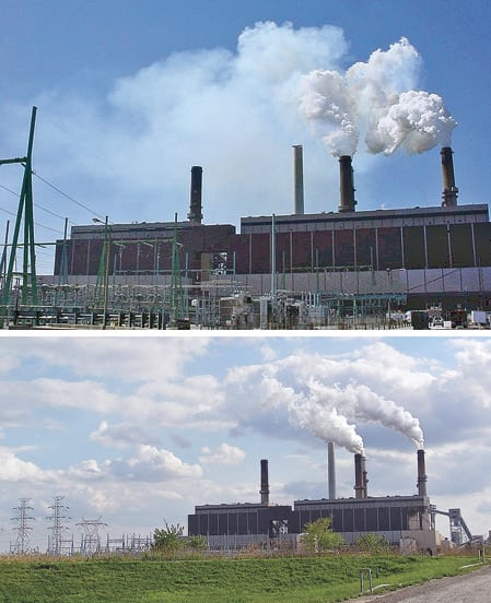 5.Before and after. The same Midwestern power plant before (top) and after installation of SBS Injection technology, in April 2005. Courtesy: Codan Development LLC?
