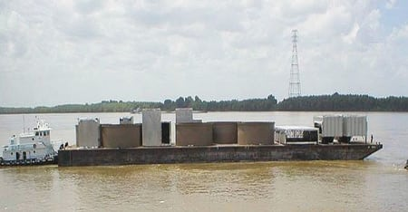 9. Barging in. Many large components were delivered by barge to the plant site. Source: Hitachi America Ltd.