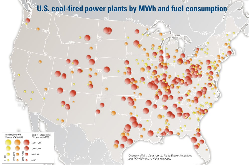 Map Of Coal Power Plants In Us Map of U.S. coal fired power plants by MWh and fuel consumption