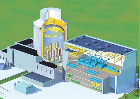 "2.	Passive design, aggressive marketing. An artist's conceptual rendering of the containment and power building of a nuclear unit based on the AP1000, an ""advanced passive"" next-generation reactor rated at 1,117 MW to 1,154 MW. Courtesy: Westinghouse Electric Co."