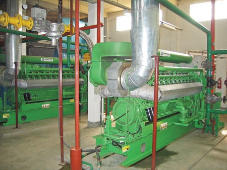 3.	Do it yourself. GE's Jenbacher engines have been a boon to Bangladesh's burgeoning industrial economy. Examples include these three Model JGS 320 GS-N.L. units, which produce 3.1 MW of on-site power for a Roshawa Spinning Mills Ltd. facility in Dhaka. Courtesy: GE Energy