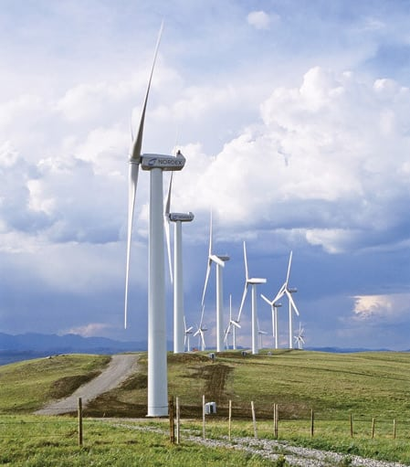 4. Canadian connection. Nordex Energy supplied 20 model N60 wind turbines rated at 1,300 kW for Canadian Hydro. The turbines, located in Pincher Creek, Alberta, near the Rocky Mountains, are equipped with special cold weather upgrades. Courtesy: Nordex Energy GmbH