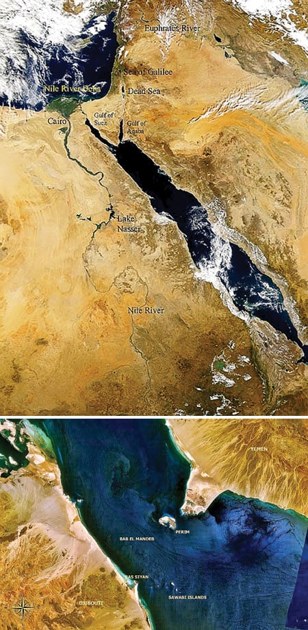 5.	Moses crossed another way, at the other end. Researchers at Utrecht University in The Netherlands suggest that 50 GW could be generated by a 20-mile-wide dam across the Red Sea near its southern end. Courtesy: NASA