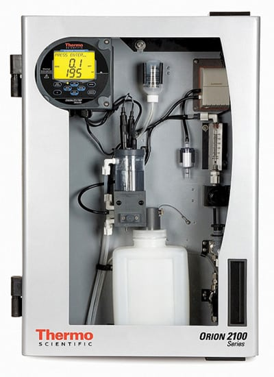 The Orion 2117XP chloride monitor holds calibration up to 60 days between reagent changes. The instrument can measure chloride concentrations as low as 0.1 ppm.