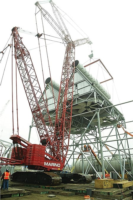 A crane was used to place each of the 12 ACC sections onto a field-erected steel support structure.