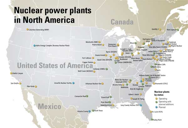 Map of nuclear power plants in North America