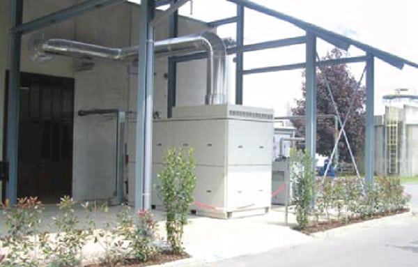 The Capstone CR200 installed at the Cossato Spolina wastewater treatment plant burns waste biogas produced by the plant and now supplies all of the plant's electricity needs