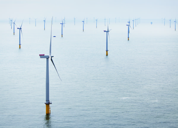 5.An oceanic city. The 630-MW London array offshore wind farm located about 20 kilometers off the Kent and Essex coast in the UK was officially opened in July. Siemens supplied and installed the 175 wind turbines, each with a rotor diameter of 120 meters (394 feet—longer than an American football field, including end zones) and a rating of 3.6 MW. Power generated by the wind turbines is bundled at sea and transported via high-voltage submarine cables to the coast. Courtesy: Siemens