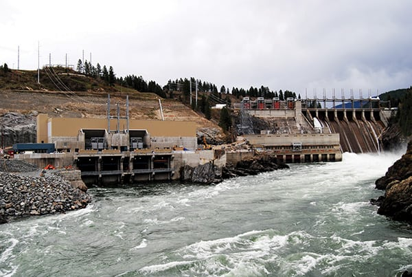 The 335-MW Waneta expansion completed this June by WELP near Trail, British Columbia, adds a second powerhouse downstream of the Waneta Dam.