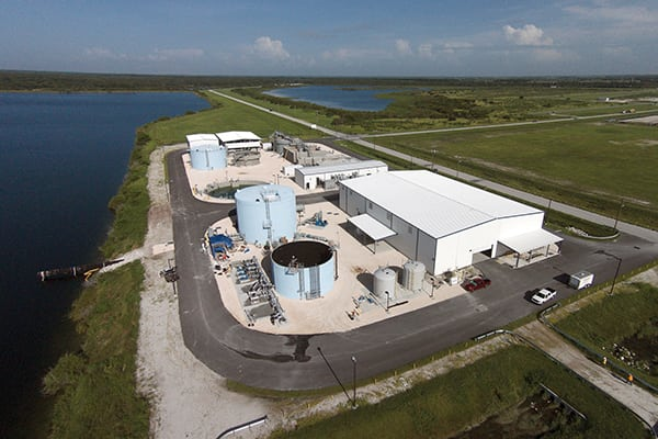 Additional purification of the wastewater is necessary before it can be used for cooling. Treatment takes place at this facility adjacent to the power plant. Once treated, it is nearly drinking-water quality and can be safely released into the cooling reservoir.