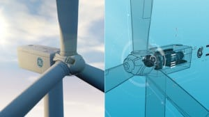 A GE wind turbine and its digital twin. Image credit: GE Power & Water