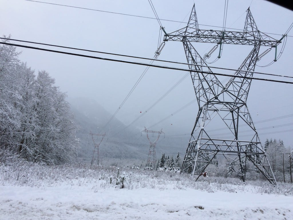 Transmission lines near Squamish, British Columbia, December 2015. Courtesy: Gail Reitenbach