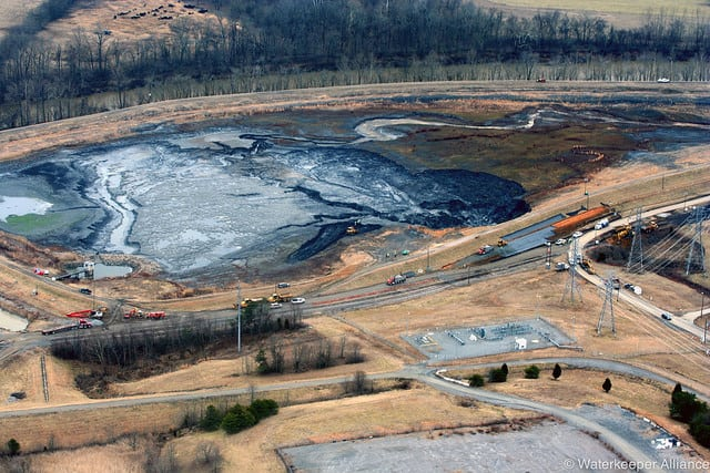 <strong>February 2, 2014—Eden, N.C.: </strong>A spill at Duke Energy's Dan River site in North Carolina near the Virginia border dumps 39,000 tons of coal ash and 27 million gallons of polluted water into the river.  <em>Courtesy: Waterkeeper Alliance</em>