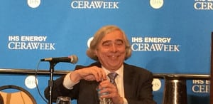 DOE Secretary Ernest Moniz spoke with the press after his luncheon keynote on February 24 at the 2016 IHS CERAWeek conference. Courtesy: POWER
