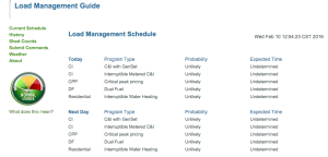 Online load management schedule for Great River Energy's demand response programs. Screenshot taken February 10, 2016. Source: Great River Energy http://lmguide.grenergy.com/