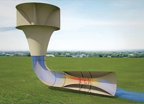 SheerWind's INVELOX funnels wind safely to ground based turbines (PRNewsFoto/SheerWind)