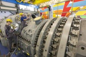 Final assembly of an H-class Siemens turbine. Courtesy: Siemens