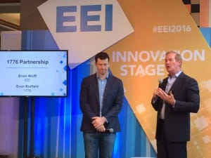 Evan Burfield (left), cofounder of 1776, and Brian Wolff, executive vice president, public policy and external affairs for EEI, announced their partnership at the EEI annual convention in Chicago, June 14. Source: POWER