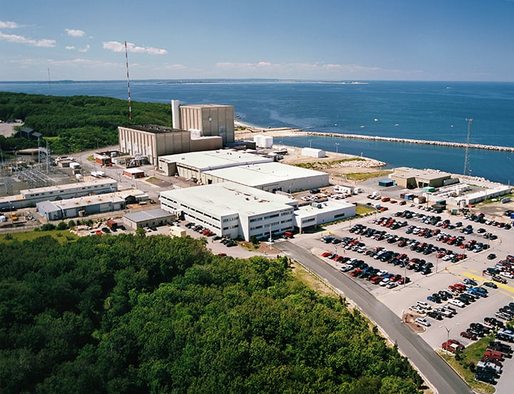 The 688-MW Pilgrim plant began commercial operation Dec. 1, 1972. On Oct. 13, 2015, Entergy announced it would close the plant—located in Plymouth, Mass.—by June 2019 for economic reasons. Courtesy: Entergy Nuclear