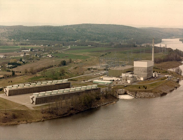The 620-MW Vermont Yankee plant near Vernon, Vt., began commercial operations Nov. 30, 1972. Its closure—for economic reasons—was announced on Aug. 27, 2013, and it was permanently shutdown on Dec. 29, 2014. Courtesy: Entergy Nuclear