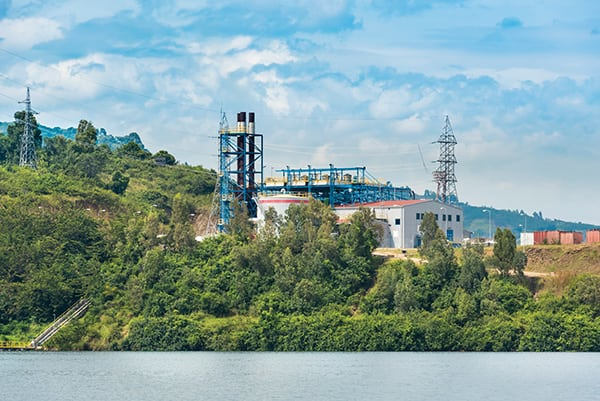 The KivuWatt power plant running on methane gas that is lifted from the depths of Lake Kivu is supplied by Wärtsilä.