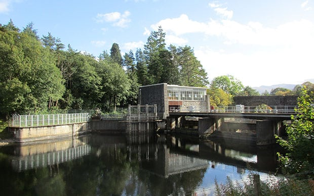 The Mucomir small hydroelectric power station in Scotland.