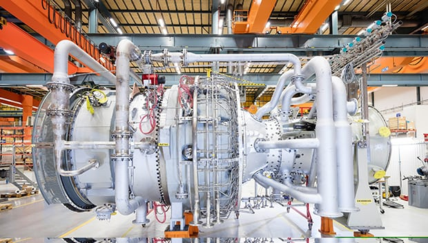 The SGT-800 gas turbine features high efficiency and low life-cycle costs. It is used for simple cycle power generation, for combined cycle power generation (CCPP) and because of its excellent waste heat recovery potential it is ideal for combined heat and power (CHP). The photo shows the SGT-800 gas turbine with a capacity of 47 megawatts at Siemens manufacturing and service facility in Finspong, Sweden.
