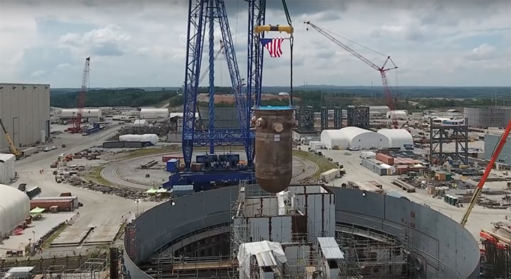 South Carolina Electric and Gas (SCE&G) and co-owner Santee Cooper are building two AP1000 reactors in Fairfield County, S.C. This image shows the reactor vessel being placed in V.C. Summer Unit 2's containment building on Aug. 30, 2016. The vessel is about 35-feet tall and weighs approximately 610,000 pounds. Courtesy SCE&G