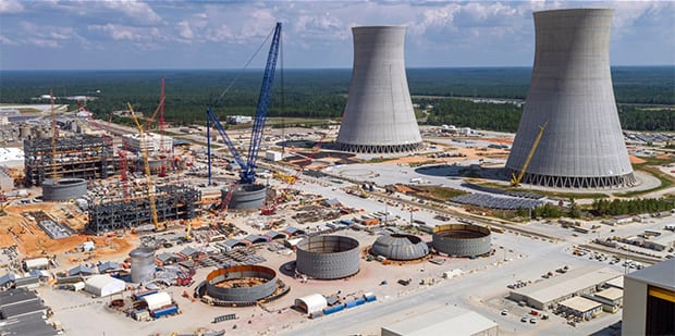 Two new AP1000 units are being added to Georgia Power's Plant Vogtle nuclear station located near Waynesboro, Ga. This image provides an overview of the site in August 2016, a month in which the CA20 module was placed into the Unit 4 nuclear island. More than 6,000 construction workers were said to be onsite at the time. Courtesy: Georgia Power