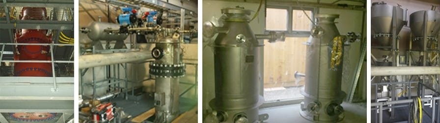 Different set ups of the oxy-pressurized fluidized bed combustion carbon capture facility in Ottawa, Canada