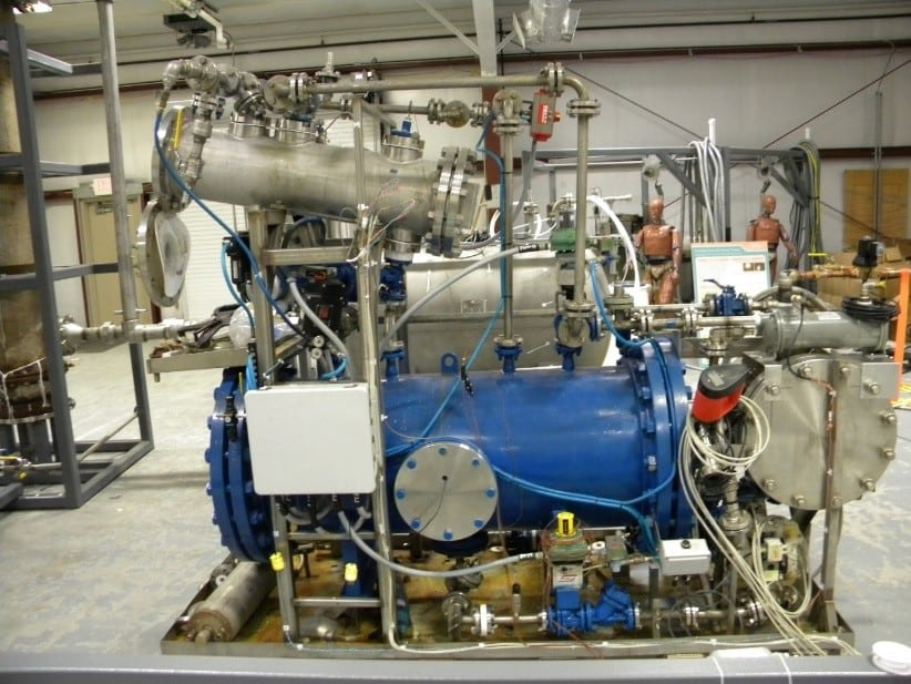 Closed-loop leaching. The Battelle Memorial Institute, based in Columbus, Ohio, is validating the economic viability of a patented process that uses closed-loop acid digestion to recover rare earth elements from coal ash. This image shows Battelle's acid digestion process reactor with its acid recirculation tank. Source: NETL