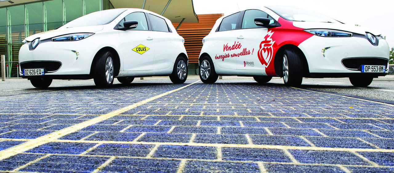 5.The road to a solar future? The Wattway photovoltaic panels used to pave experimental roads in the U.S. and France are covered with a resin containing fine sheets of silicon, making them sturdy enough for all traffic. Courtesy: Colas