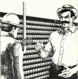 A teller of tales. Marmaduke Surfaceblow was introduced to POWER magazine readers in 1948. He was known for his imposing size, signature mustache, and affinity for cigars and gin, along with an ability to solve complex engineering problems that baffled others. Courtesy: POWER magazine archives