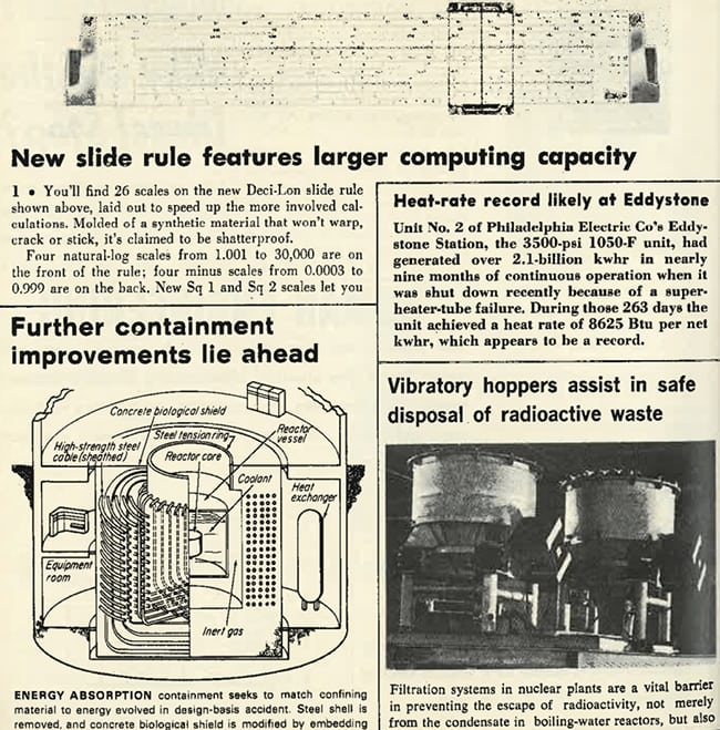 "<strong>1960s:</strong> <br><br>Technology took another leap in the 1960s. This set of excerpts notes advancement in computing capacity, containment improvements, and filtration systems. It also reports a heat-rate record set by Philadelphia Electric's Eddystone Station, a 3,500-psi, 1,050F unit that generated more than 2.1 billion kWh in nine months of continuous operation. ""During those 263 days, the unit achieved a heat rate of 8625 Btu per net kwhr, which appears to be a record,"" it says."