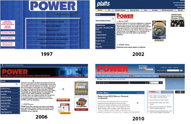 <strong>1990s:</strong> <br><br>In 1997, POWER magazine went electronic, enabling the addition of a large volume of news to the publication's  features and special reports. While the face of POWER's digital avatar, www.powermag.com, has changed over the past 20 years, POWER's mission to provide quality business and technology for the global generation industry has not.