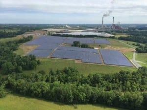 The E.W. Brown Generating Station in Harrodsburg, Kentucky is closing two more coal-fired units at the plant. The facility's 10-MW solar farm is shown in the foreground. Courtesy: LG&E-KU