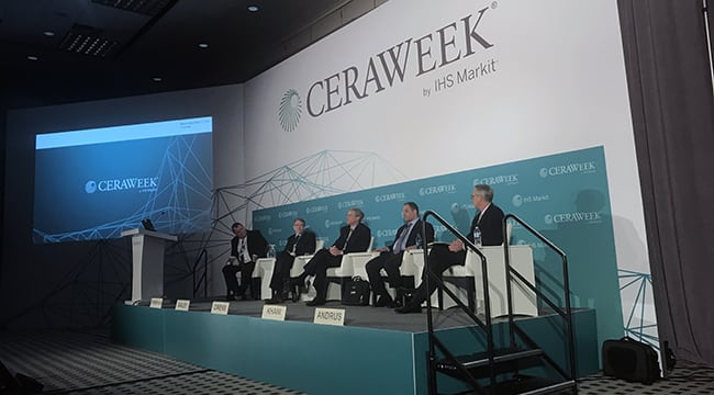 A panel at CERAWeek by IHS Markit on March 7, 2018, discussed the role of coal and gas in American power. From left to right: Jim Thompson, IHS Markit; Paul Bailey, ACCCE; David Ownens, TVA; David Khani, CONSOL Energy; and Samuel Andrus, IHS Markit. Source: POWER