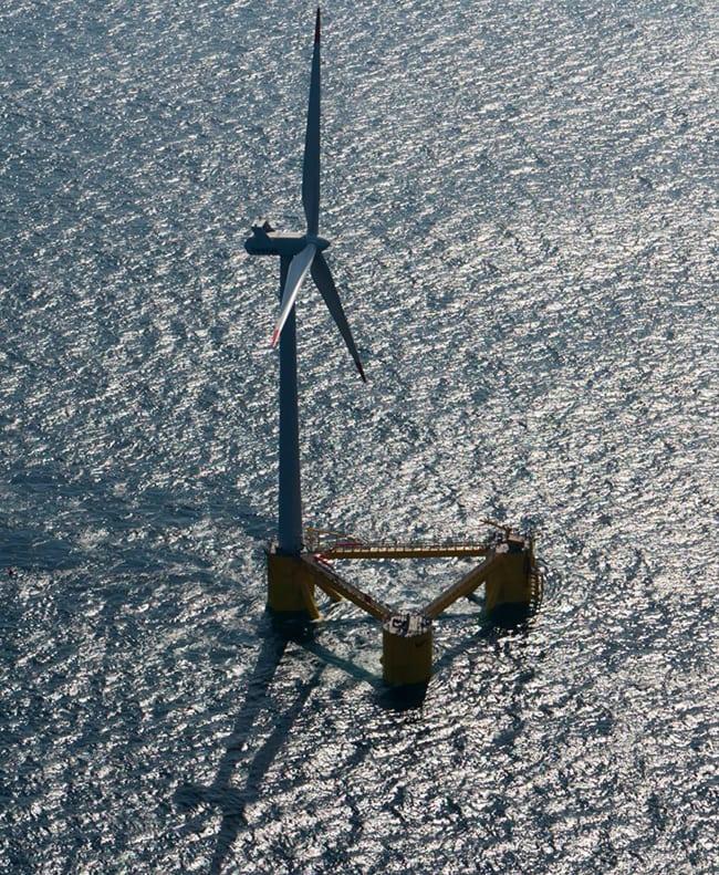 Principle Power deployed a full-scale 2-MW WindFloat prototype five kilometers off the coast of Aguçadoura, Portugal Courtesy: Principle Power