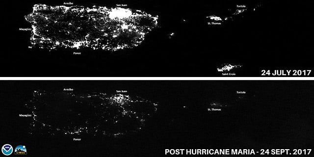 "Comparison of lights at night in Puerto Rico before (top) and after (bottom) Hurricane Maria. Note: Lower image date should read ""September 25, 2017"". Source: NOAA"