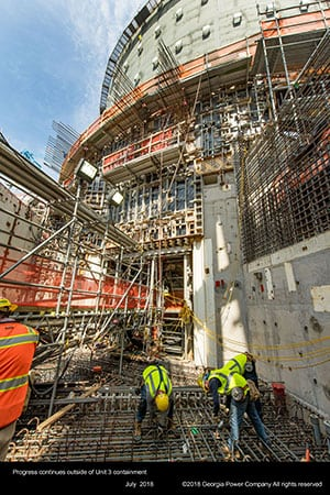 Progress continues outside the Vogtle Unit 3 containment (July 2018). Courtesy: Georgia Power