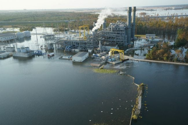 Floodwater entered the footprint of the 625-MW Sutton natural gas combined-cycle plant on September 21. Courtesy: Duke Energy