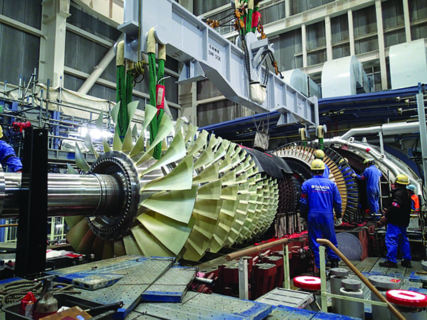gas-turbine-rotor-installation