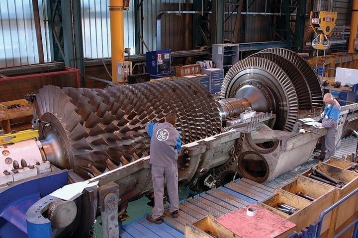 GE-9E-gas-turbine-rotor